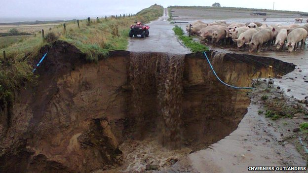 From BBC News - Dramatic scene near Nairn, but no pigs in the hole!